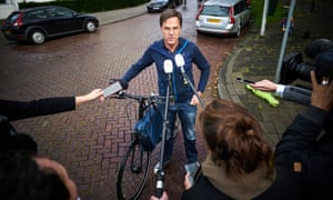 The Dutch prime minister, Mark Rutte, speaks to reporters in The Hague on Sunday