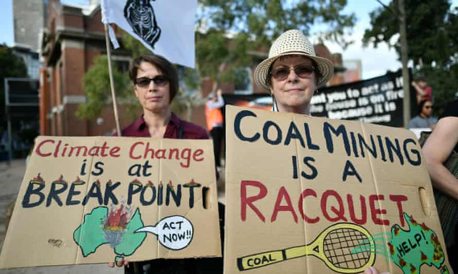 Climate change protesters at the 2020 Australian Open tennis tournament.