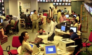 The newsroom at New Delhi Television (NDTV), pictured in 2003.