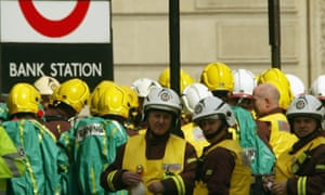 Emergency workers are on the scene during an exercise at Bank underground station in 2003.