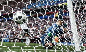 Germany's goalkeeper, Manuel Neuer, concedes a goal in the Group F football match against Mexico.
