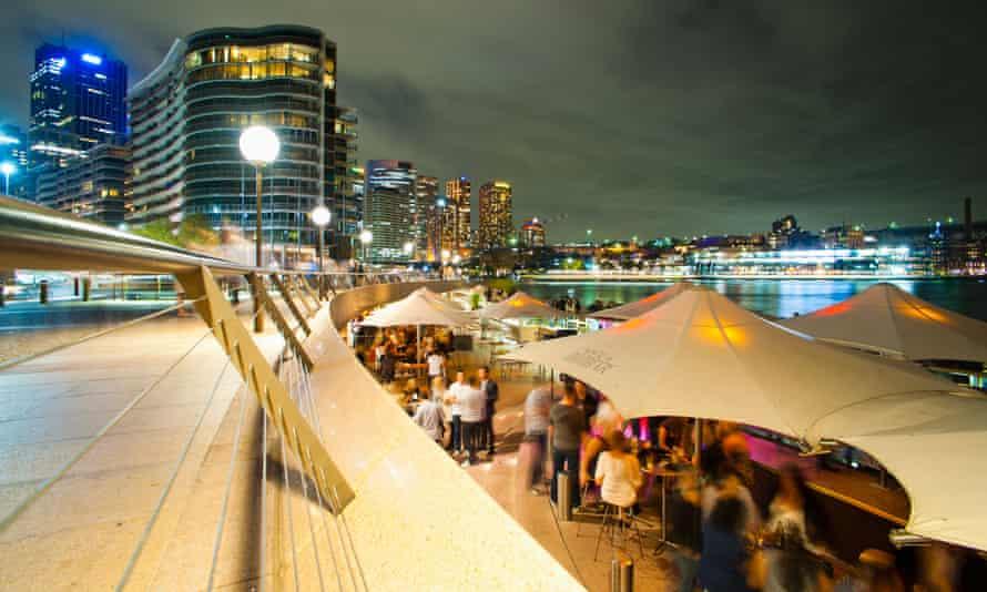 Opera Bar and Circular Quay in Sydney at night.