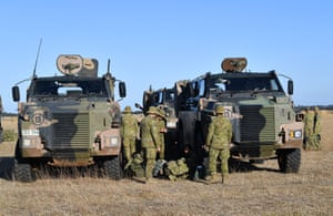 A convoy of Army vehicles, transporting up to 100 Army Reservists and self-sustainment supplies, are on Kangaroo Island as part of Operation Bushfire Assist at the request of the South Australian government