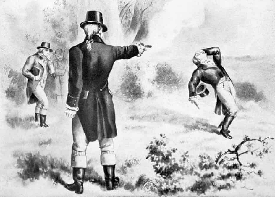 An illustration of the duel between Alexander Hamilton and Aaron Burr.