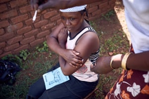 Dausi Mukwana, 26, a rural Ugandan, receives a contraceptive called Sayana Press