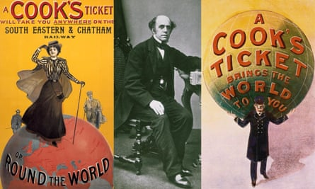 Thomas Cook in 1850, with advertising posters dating from around 1910.