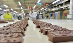 Chocolate bars being made at a factory