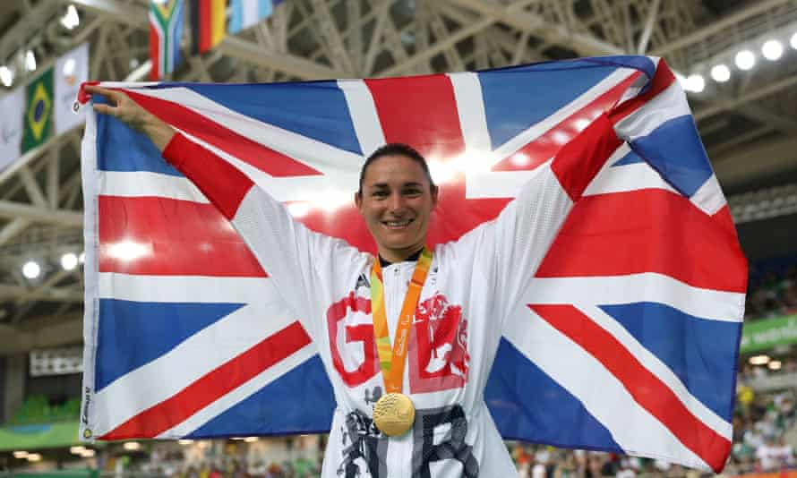 Sarah Storey after winning gold at the Rio Olympic Velodrome at the 2016 Rio Paralympic Games