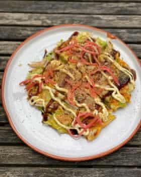 Rich and egg-heavy: Luis Hara's okonomiyaki.
