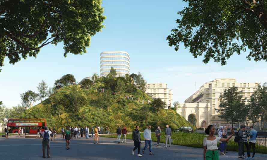 An artist's impression of Marble Arch Hill, a temporary installation that will overlook Hyde Park and Oxford Street.