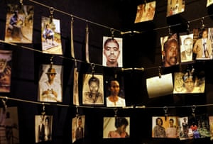 Family photographs of some of those who died during the massacre 25 years ago are displayed in an exhibition at the Kigali Genocide Memorial centre.