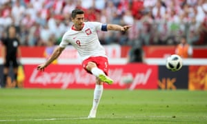 Robert Lewandowski in action against Lithuania in Warsaw, in the buildup to the World Cup.