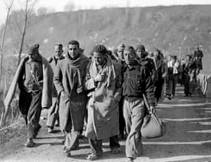 February 1939 showing Republican fighters arriving in France after fleeing Spain where nationalist troops of General Franco won the civil war