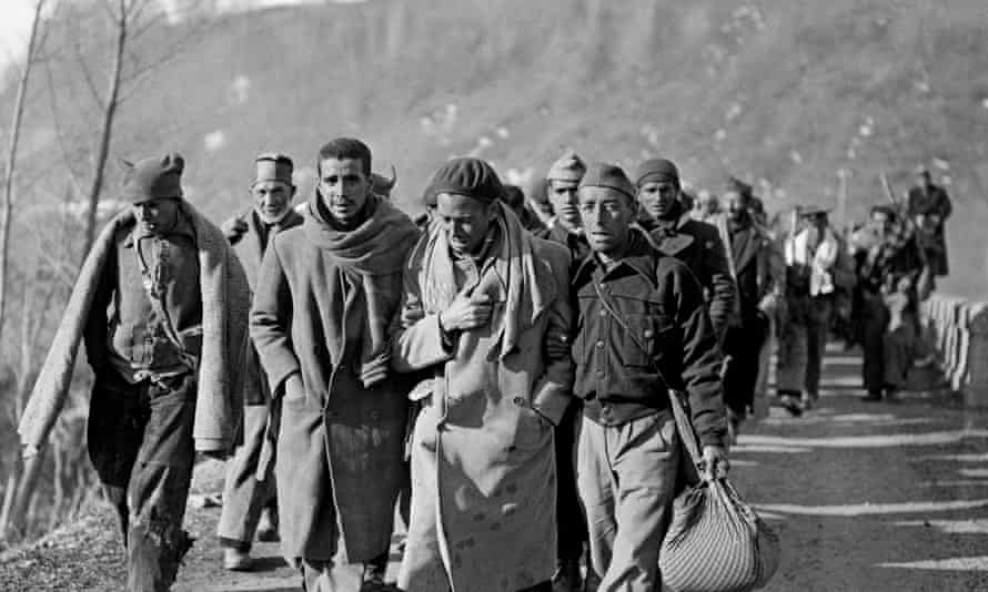 Republican fighters arrive in France after defeat by Franco's forces in 1939.