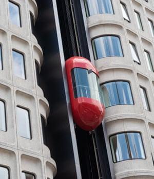 Like a flying phone box … the Standard's lift.
