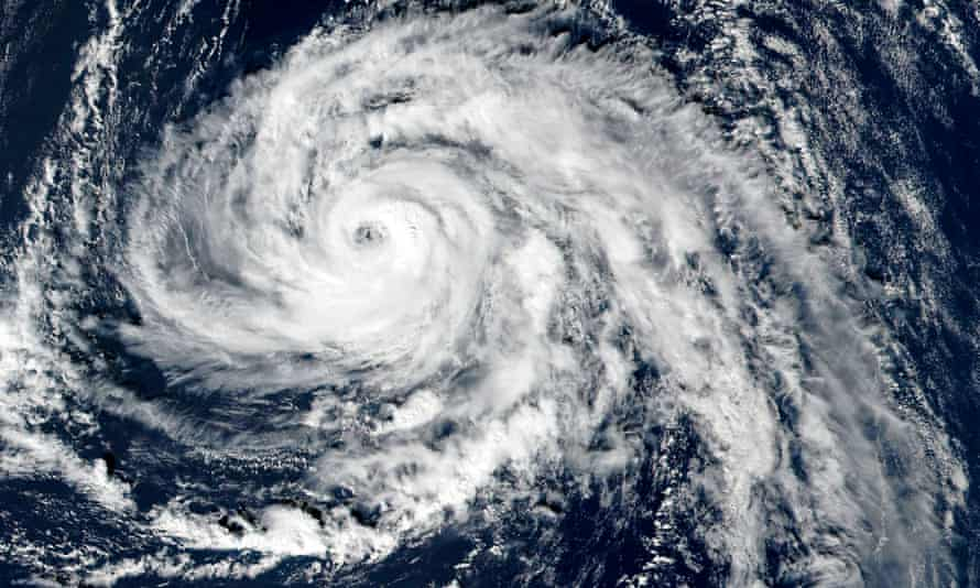A satellite image shows Hurricane Ophelia approaching the Azores in the Atlantic Ocean