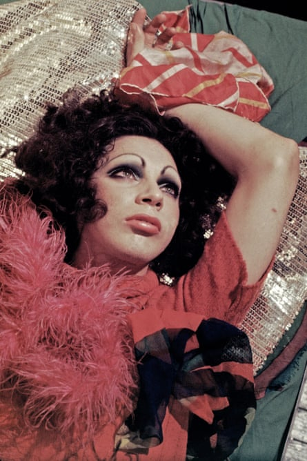 Holly Woodlawn photographed in her Greenwich Village apartment in 1970.