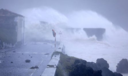 Hurricane Lorenzo lashes the seafront in Faial, the Azores. The storm is expected to hit Ireland's west on Thursday.