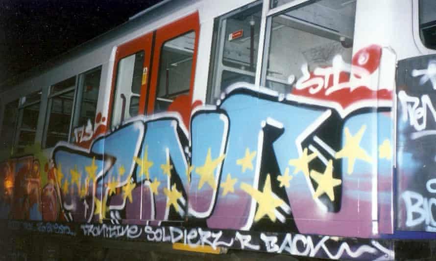 Barnes's work on a tube train, early 2000s.