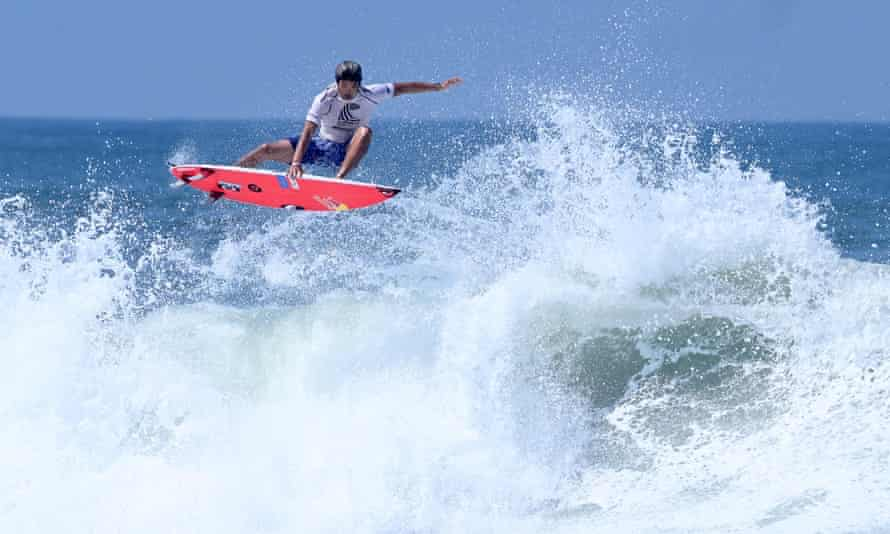 Kanoa Igarashi rides a wave during the World Surfing Games at the El Tunco beach in El Salvador in June