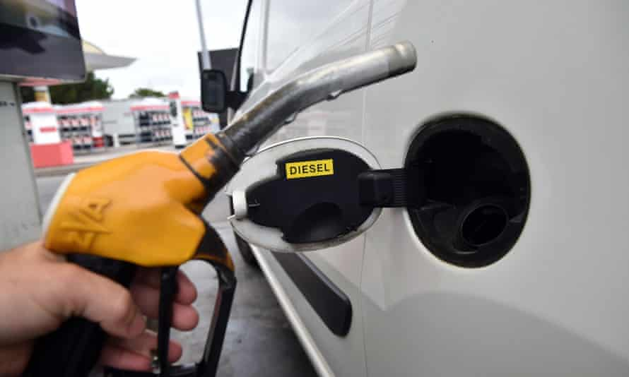 Filling up a car with fuel in France
