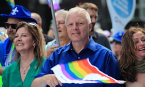 The latest leader, Jean-François Lisée, of the separatist Parti Québécois, at the 2017 Montreal LGTQ Parade. Recently he said the provincial government should ban the burka lest a 'jihadist uses it to hide his movements'.