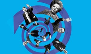 illustration: conservative politicians going down the plughole