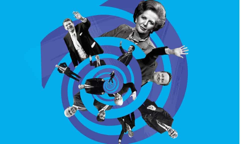 composite illustration: conservative leaders in a downward spiral