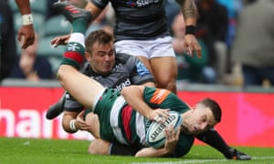 George Ford just gets over for Leicester's first try en route to scoring 29 points in the win against Newcastle