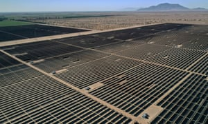 Photovoltaic panels at a solar energy plant in California.