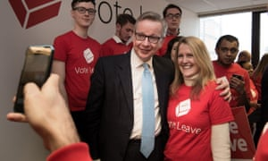 Justice secretary and chairman of the Vote Leave campaign committee, Michael Gove, at the group's headquarters.