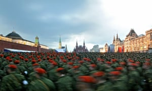 Russian soldiers rehearse for Victory Day parade in Red Square, Moscow, in 2011