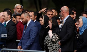 New Zealand's Prime Minister Jacinda Ardern and her entourage arrive before Friday prayers at Hagley Park.