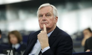 Michel Barnier, the EU's chief Brexit negotiator, in the European parliament earlier today.