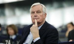 Michel Barnier, the EU's chief Brexit negotiator, in the European parliament earlier today.