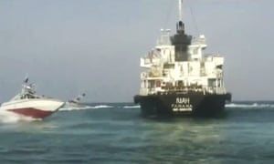 Iranian state television published a photo of the Panamanian-flagged oil tanker MT Riah surrounded by Iranian Revolutionary Guard vessels.