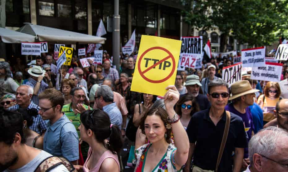 a Protest In Madrid Against the Ttip trade deal