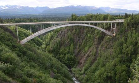 Bridge over Hurricane Gulch in central Alaska