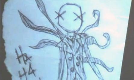 A 'Slender Man' drawing found in a notebook belonging to Morgan Geyser.