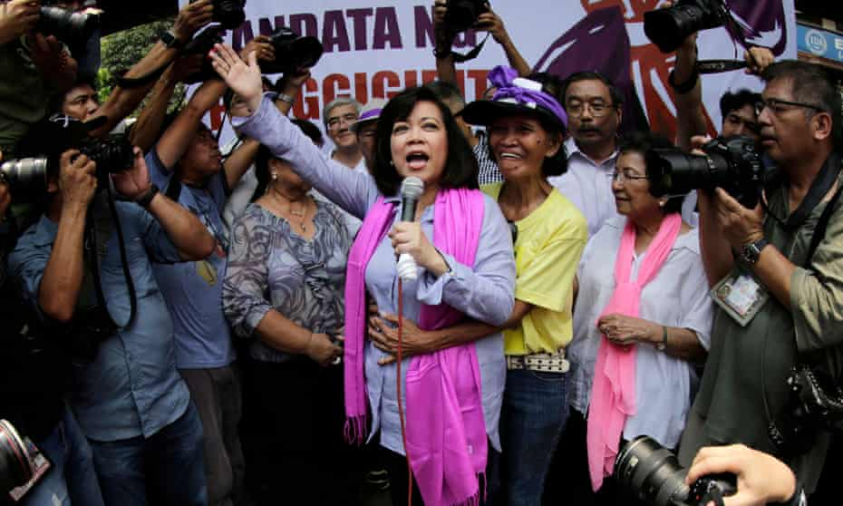 Maria Lourdes Sereno addresses supporters in Manila after being ousted as Philippine supreme court chief justice.