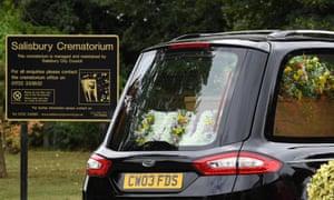 The casket of novichok victim Dawn Sturgess arrives at Salisbury Crematorium on 30 July 2018