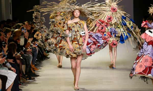 A model sports Viktor&Rolf haute couture from their spring/summer 2015 range.