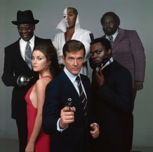 The cast of the James Bond film 'Live and Let Die', directed by Guy Hamilton, 1973. From front centre, clockwise, Roger Moore as Bond, Jane Seymour as Solitaire, Julius Harris as Tee Hee, Geoffrey Holder as Baron Samedi, Earl Jolly Brown as Whisper and Yaphet Kotto as Kananga.