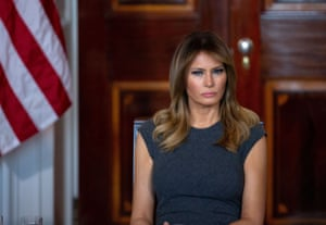 Melania Trump at the White House in October. The book says the first lady 'still refuses to believe' the president played a role in the photos' release.