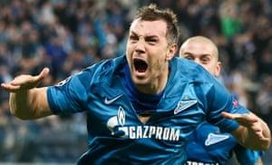 St Petersburg, RussiaZenit St Petersburg's Artyom Dzyuba celebrates after scoring a goal in a match between Zenit St Petersburg and Olympique Lyonnais at Krestovsky Stadium.
