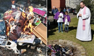 Catholic priests in Poland have burned books that they say promote sorcery, including one by JK Rowling.
