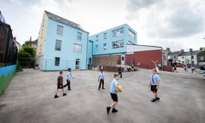 Children in the playground of St Anthony's free school, Cinderford