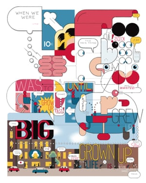 Grow Up an illustration created by Chris Ware for the cover of the Graphic Novel Special Edition of Observer New Review 5th Nov 2017 . MUST CHECK FOR ANY FURTHER USE.