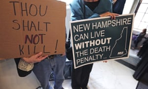 Activists outside the senate chamber prior to a vote on the death penalty in Concord, New Hampshire, on 30 May.