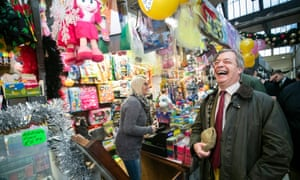 Brexit Party leader Nigel Farage in the Market Hall at Middleton Grange Shopping Centre whilst on the campaign trail in Hartlepool.